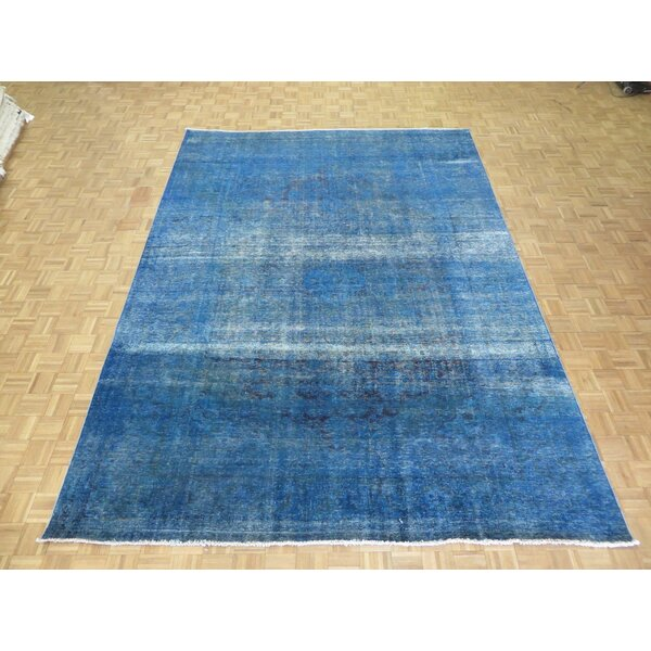 One-of-a-Kind Edinburgh Over-dyed Persian Hand-Knotted Wool Blue Area Rug by World Menagerie