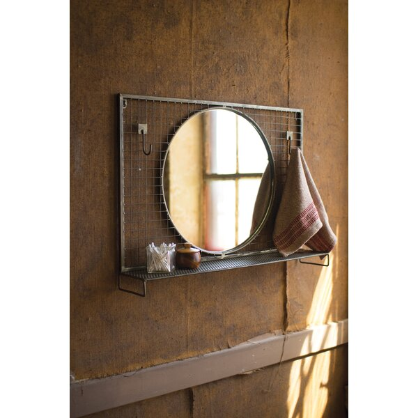 Wolak Round Wire Mesh Wall Hooks and Metal Shelf Accent Mirror by Gracie Oaks
