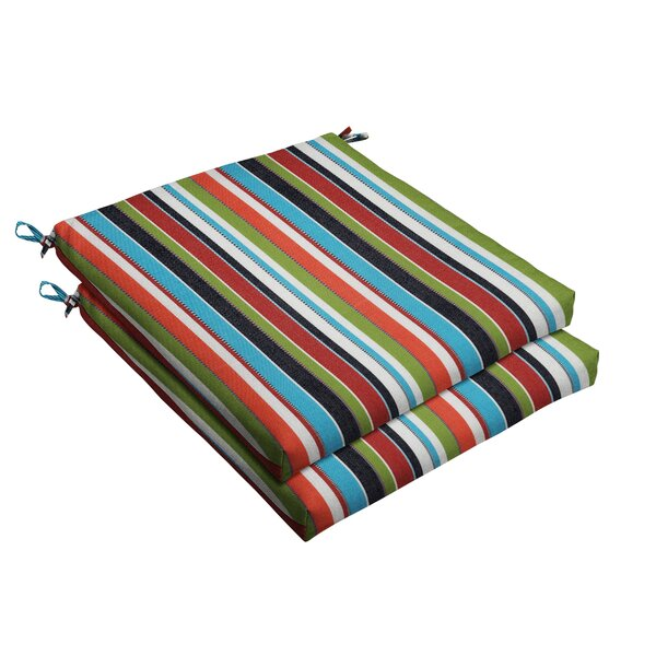 Colorful Stripe Indoor/Outdoor Sunbrella Dining Chair Cushion (Set of 2) by Rosecliff Heights