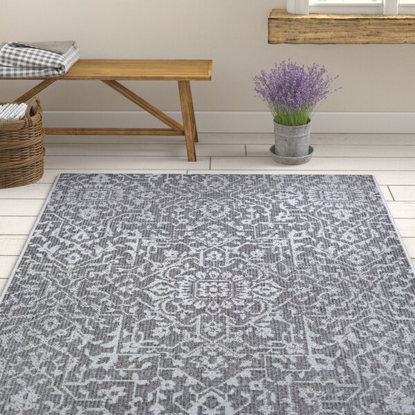 Kraatz Palmette Black Indoor/Outdoor Area Rug by Ophelia & Co.