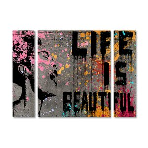 'Life is Beautiful' by Banksy 3 Piece Graphic Art on Wrapped Canvas Set by Trademark Fine Art