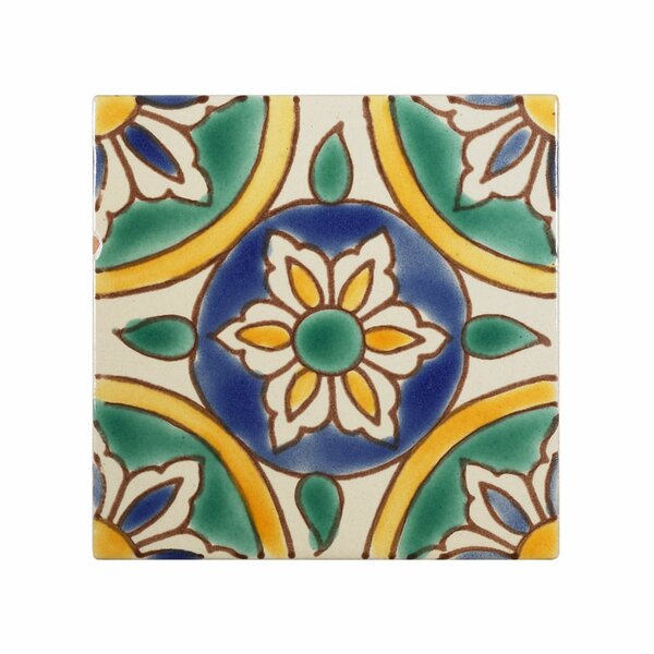 Mediterranean4 x 4 Ceramic Granada Decorative Tile in Green/Yellow by Casablanca Market
