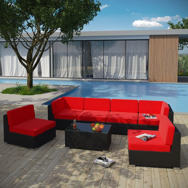 Aero 7 Piece Rattan Sectional Seating Group with Cushions by Modway