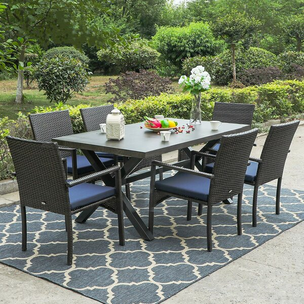 Angelgabriel Patio Garden 7 Piece Dining Set with Cushions