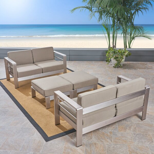 Royalston Outdoor Aluminum Loveseat with Cushions by Brayden Studio