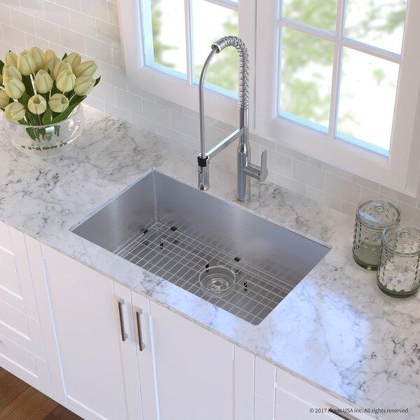 Handmade Stainless Steel 16 Gauge 30 L x 18 W Undermount Kitchen Sink with Faucet by Kraus