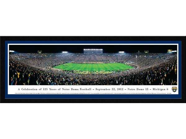 NCAA Notre Dame, University of - 125 Night Framed Photographic Print by Blakeway Worldwide Panoramas, Inc