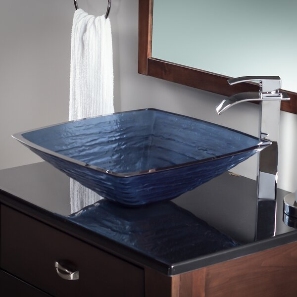Frosted Glass Square Vessel Bathroom Sink by Novatto