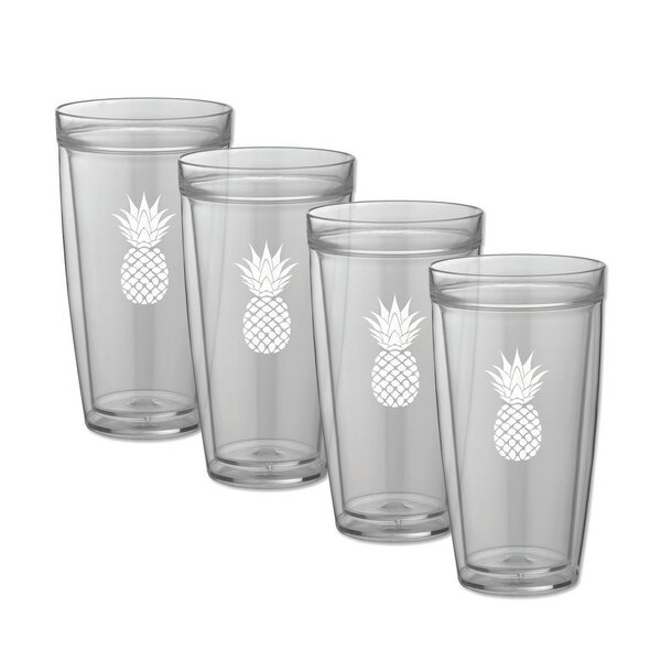 Milburn Pineapple Doublewall 22 oz. Plastic Every Day Glass (Set of 4) by Bay Isle Home