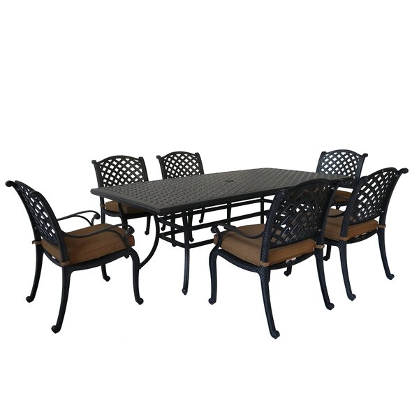 Waddington 7 Piece Dining Set with Sunbrella Cushions by Fleur De Lis Living