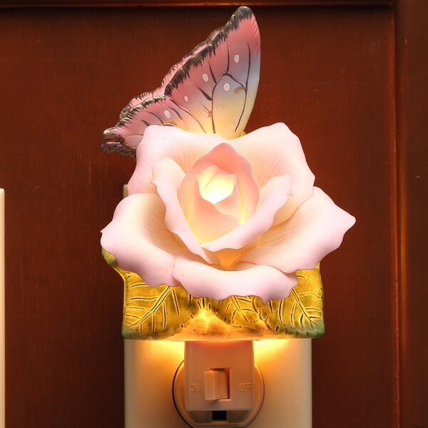 Butterfly with Peace Rose Night Light by Cosmos Gifts