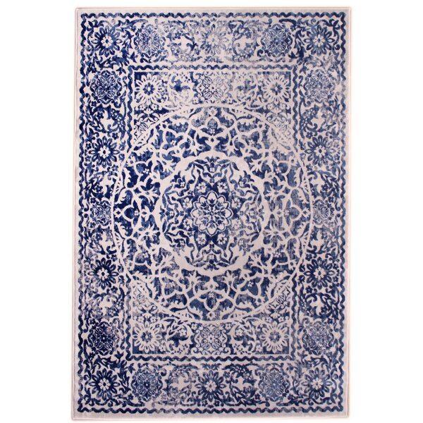 Rosie Transitional Medallion Distressed Ivory/Blue Area Rug by Bungalow Rose
