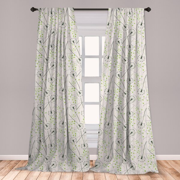 Home Décor Gold Dandelion Floral Curtains Girls Curtain for ...