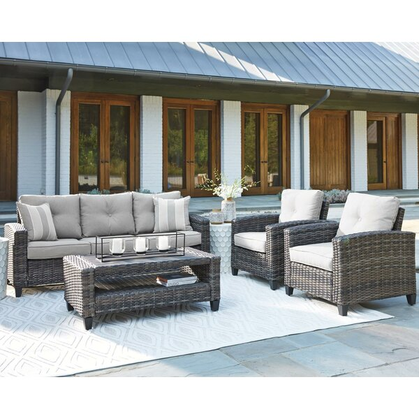 Ludowici 4 Piece Rattan Sofa Seating Group with Cushions (Set of 4) by Bay Isle Home