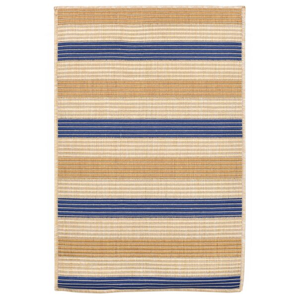 Larana Stripe Beige/Blue Indoor/Outdoor Area Rug by Beachcrest Home