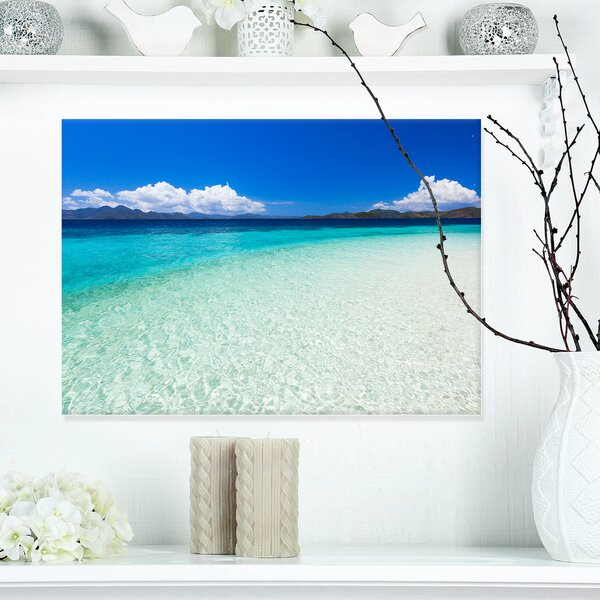 Vacant Beach with Turquoise Water Seashore Photographic Print on Wrapped Canvas by Design Art