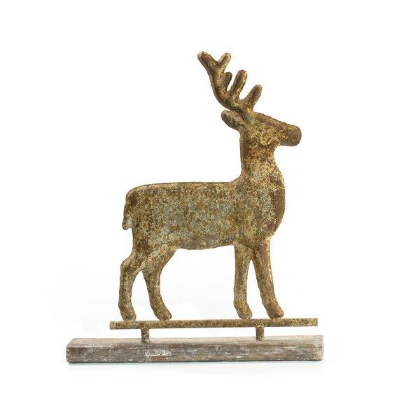 Distressed Metal Deer on Faux Wood Base by Millwood Pines
