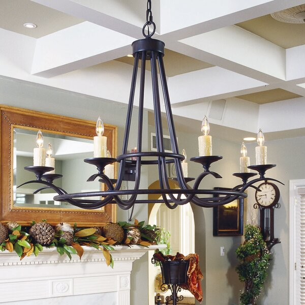 Octavia 8 - Light Candle Style Wagon Wheel Chandelier By 2nd Ave Design