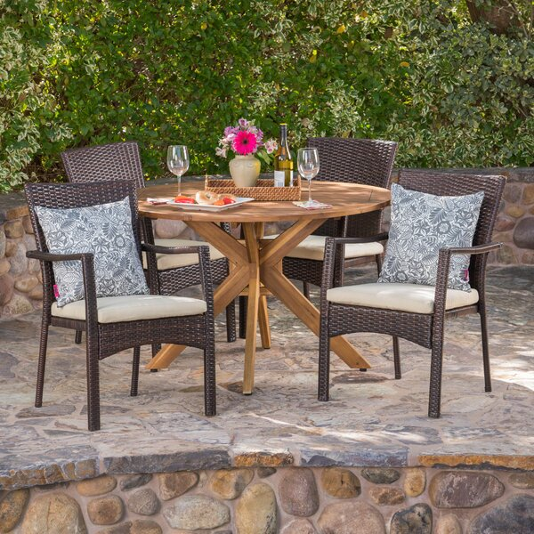 Towler 5 Piece Dining Set with Cushions by Ebern Designs