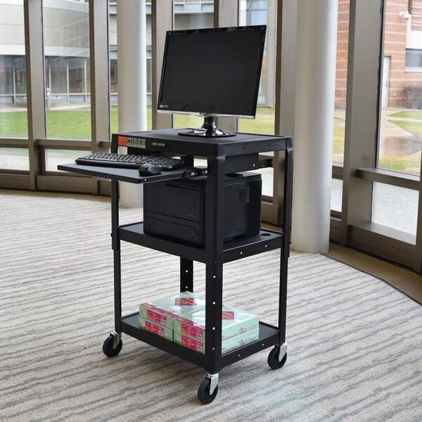 Adjustable Height Steel A/V Cart - Pullout Tray by Offex