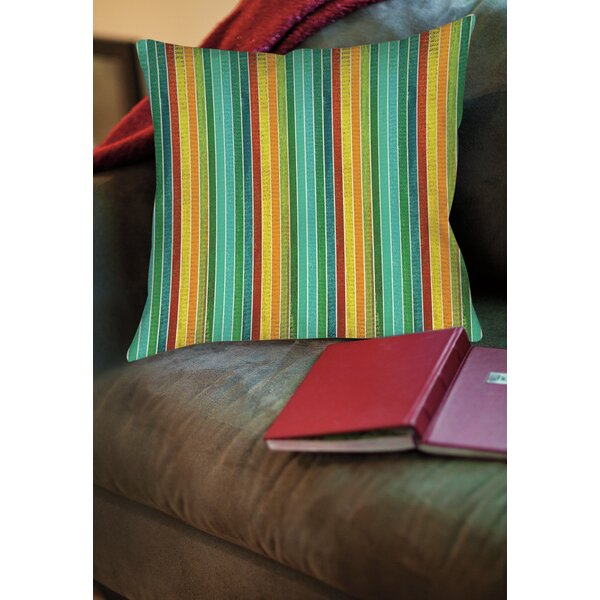 Aqua Bloom Stripes Printed Throw Pillow by Manual Woodworkers & Weavers