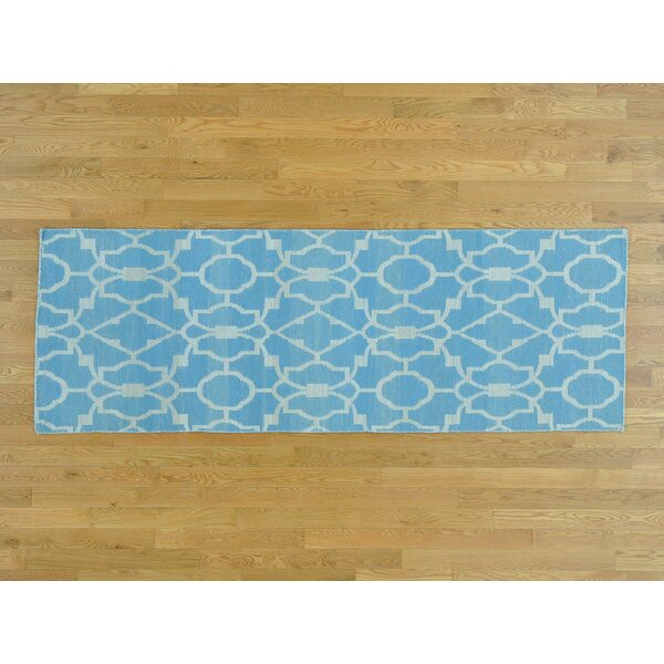 One-of-a-Kind Borger Reversible Handmade Kilim Blue Wool Area Rug by Isabelline