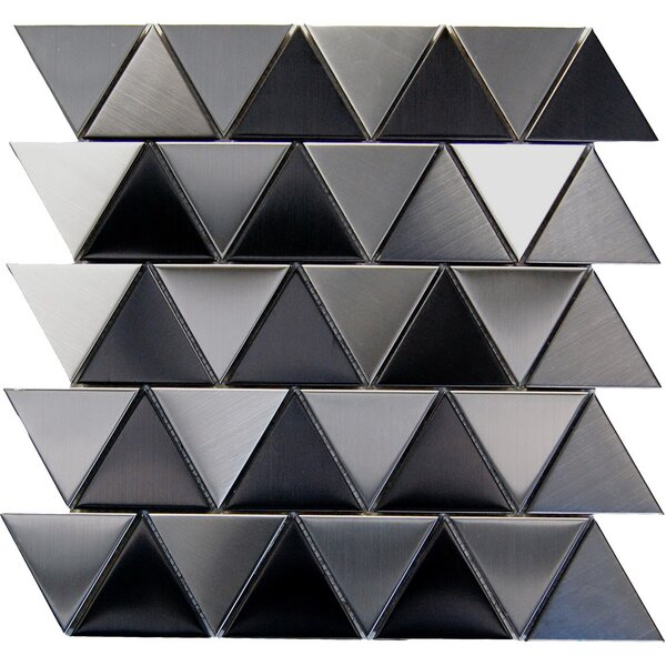 Triangle 2 x 2 Metal Mosaic Tile in Black by Luxsurface