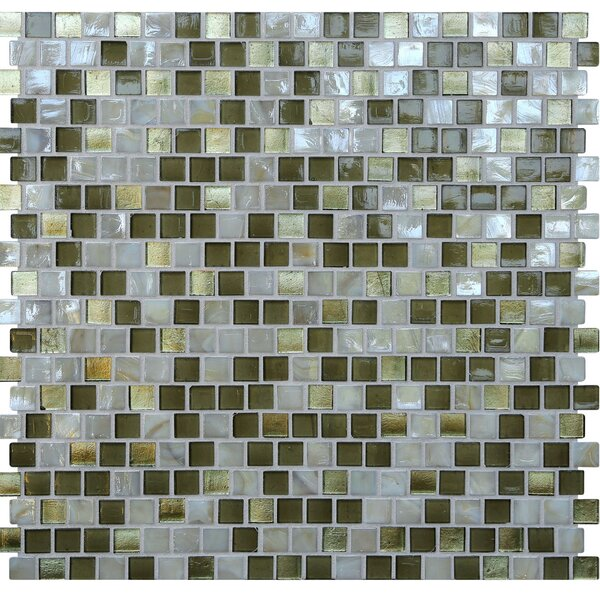 Opal 0.63 x 0.63 Glass Mosaic Tile in Golden Olive by Kellani