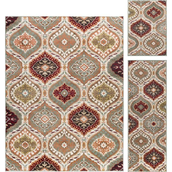 Nantucket Transitional 3 Piece Red/Green Area Rug Set by World Menagerie