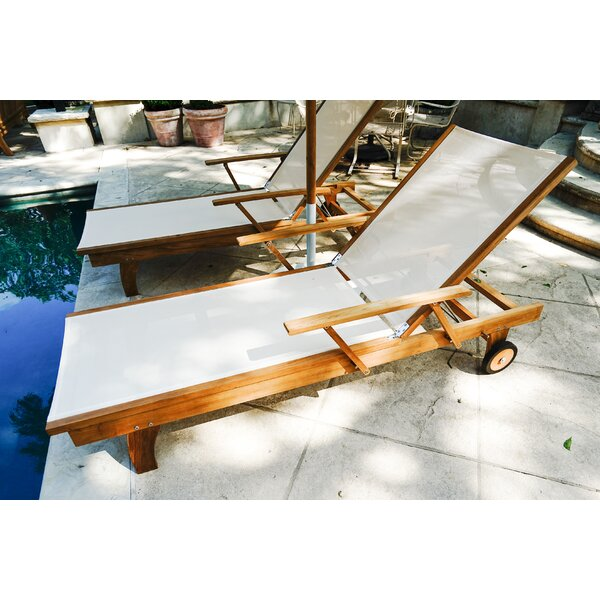 Maximilian Outdoor Reclining Teak Chaise Lounge