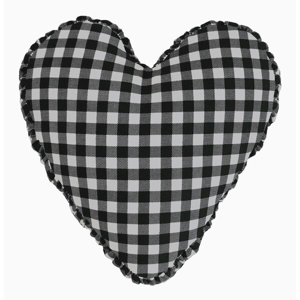Gingham Check Heart Cotton Throw Pillow by R&MIndustries