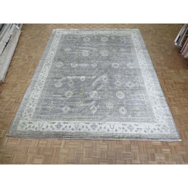 One-of-a-Kind Josephson Soft Oushak Hand-Knotted Wool Gray/Soft Blue Area Rug by Canora Grey