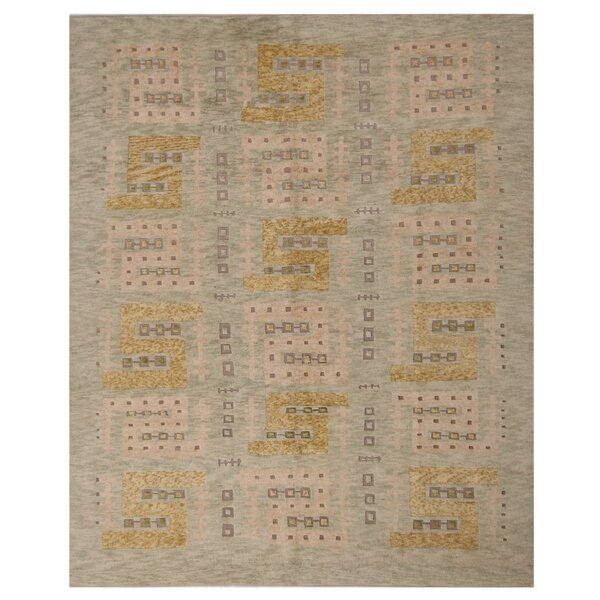 One-of-a-Kind Hand-Knotted Green 8' x 10'2 Wool Area Rug