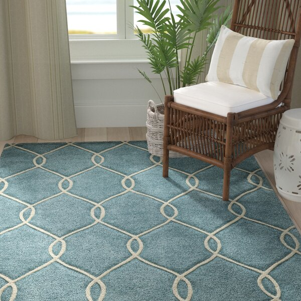 Chittening Hand-Tufted Teal Area Rug by Breakwater Bay