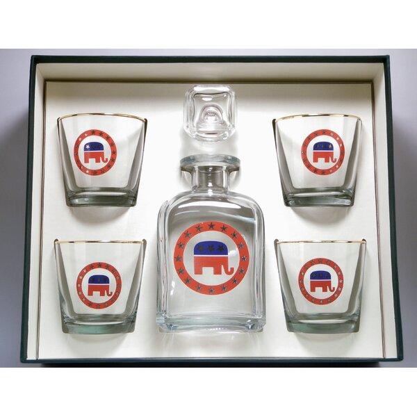 5-Piece Republican Decanter Set by Richard E. Bishop
