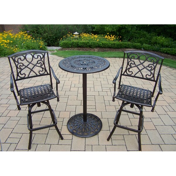 Ericka 3 Piece Bar Height Dining Set by Fleur De Lis Living