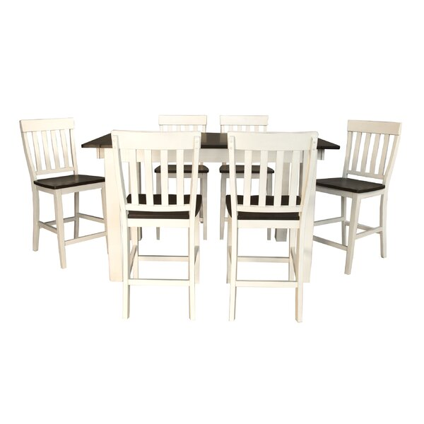 Aguero 7 Piece Counter Height Extendable Solid Wood Pub Table Set by Canora Grey