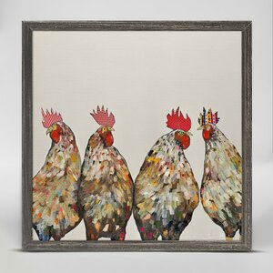 'Roosters on Cream' Framed Acrylic Painting Print on Canvas by Wrought Studio
