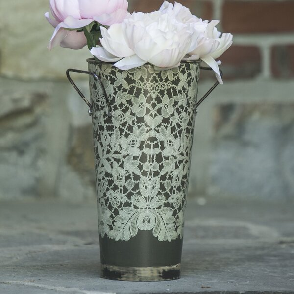 Vintage Garden Metal Pot Planter by Heritage Lace