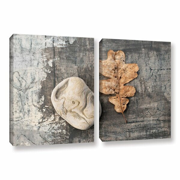 Still Life Leaf Stone by Elena Ray 2 Piece Photographic Print on Wrapped Canvas Set by ArtWall