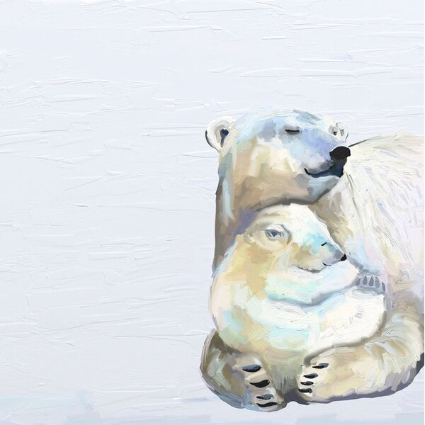 Kristi You and Me Polar Bears Framed Canvas Art by Harriet Bee