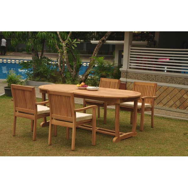 Raymundo 5 Piece Teak Dining Set by Rosecliff Heights