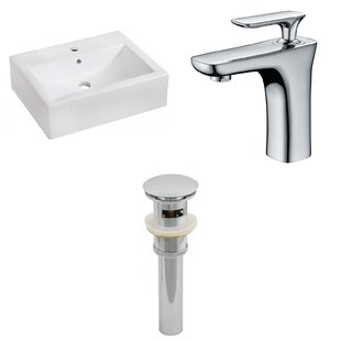Where buy  Ceramic 16 Wall Mount Bathroom Sink with Faucet and Overflow By American Imaginations