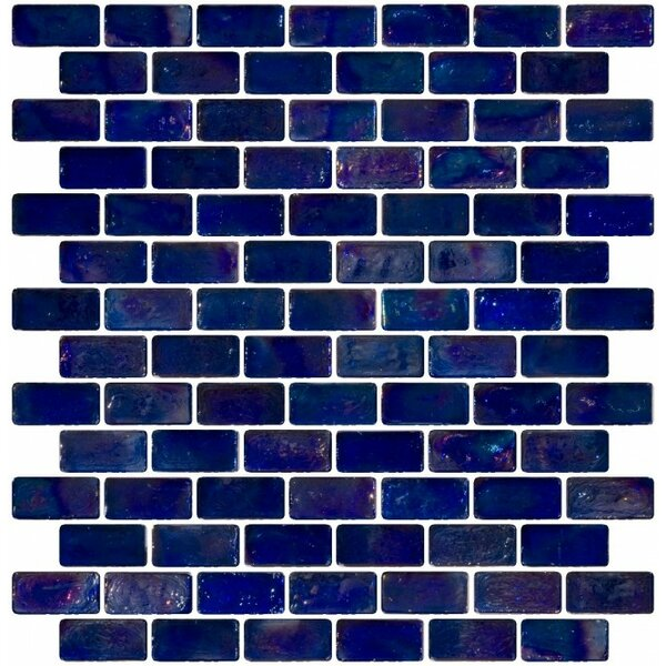 Iridescent 0.75 x 1.5 Glass Subway Tile in Blue by Susan Jablon