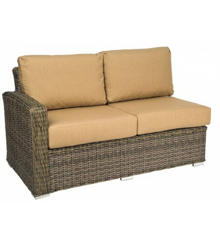 Bay Shore Left Arm Loveseat Sectional Piece with Cushions by Woodard
