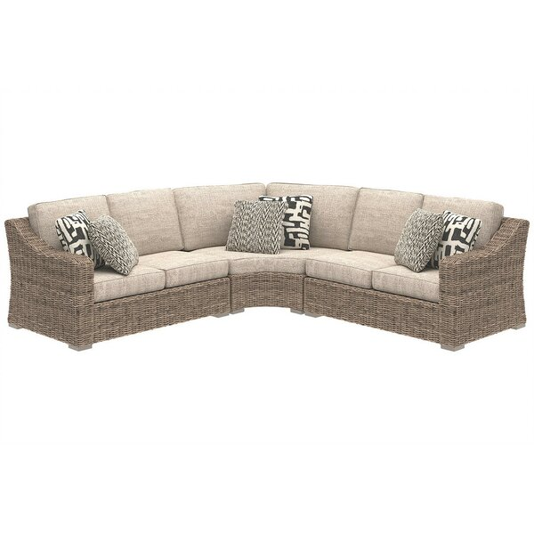 Suzan 3 Piece Sectional Seating Group with Cushions by Bungalow Rose