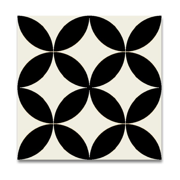 Amlo 8 x 8 Handmade Cement Tile in White and Black by Moroccan Mosaic