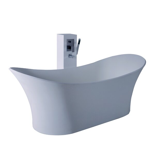True Solid Surface Cloud 68.88 x 29.5 Soaking Bathtub by dCOR design