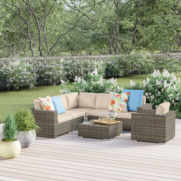 Coast 7 Piece Rattan Sectional Seating Group with Cushions by Sol 72 Outdoor Sol 72 Outdoor