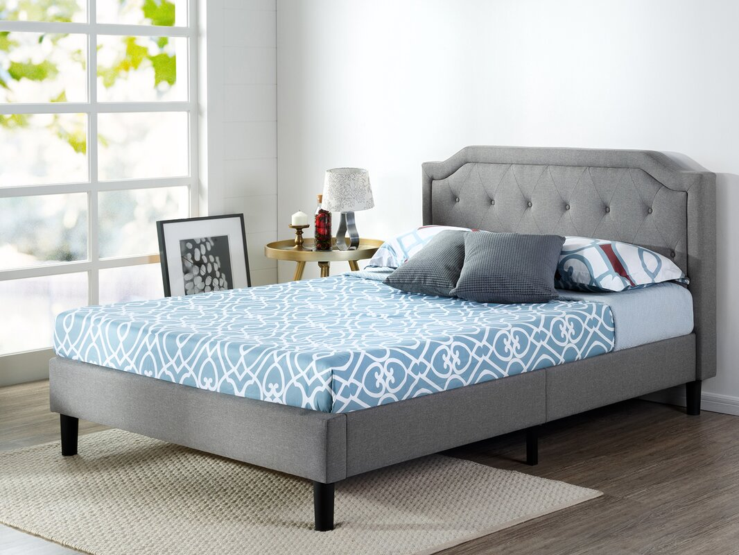 Zinus Scalloped Button Tufted Upholstered Platform Bed